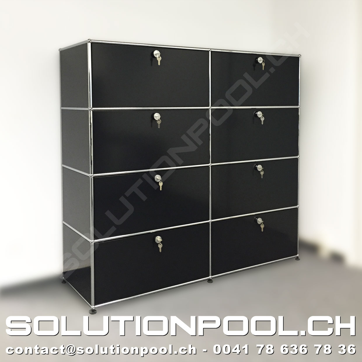 usm haller regal schwarz solutionpool first class second hand for home and office. Black Bedroom Furniture Sets. Home Design Ideas