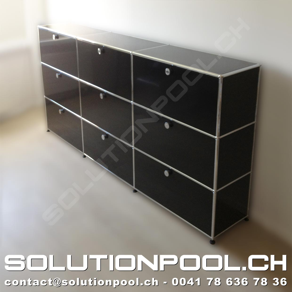 usm highboard schwarz solutionpool first class second hand for home and office. Black Bedroom Furniture Sets. Home Design Ideas